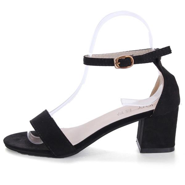 Women Summer Casual Outdoor Suede Black Buckle High Heel Sandals Beach Shoes