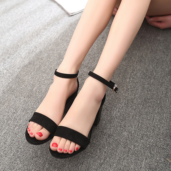 Women Summer Casual Outdoor Suede Black Buckle High Heel Sandals Beach Shoes