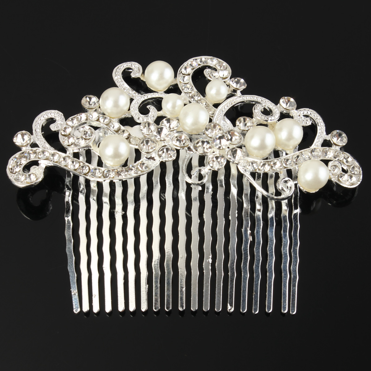 Bridal Wedding Pearl Crystal Rhinestone Hairpin Flowers Diamante Hair Clip Comb
