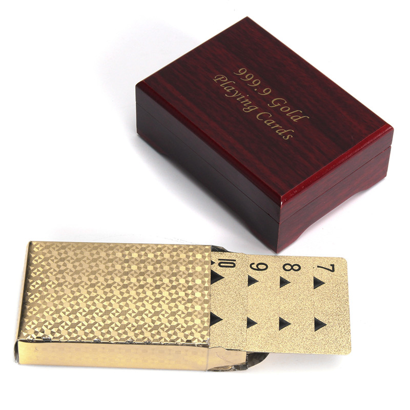 Gold Plated Poker Playing Cards With Wooden Box For Par