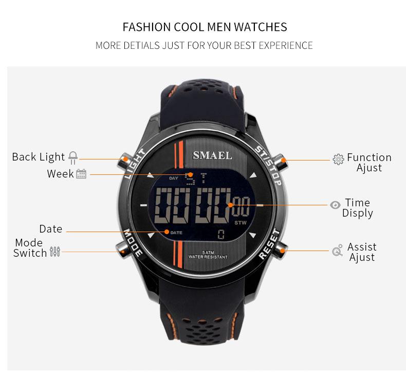 SMAEL 1283 LED Men Sport Outdoor Military Digital Watch