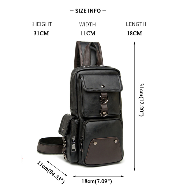 Men Chest Bag Black Shoulder Bag Multi Pocket Crossboby Bag