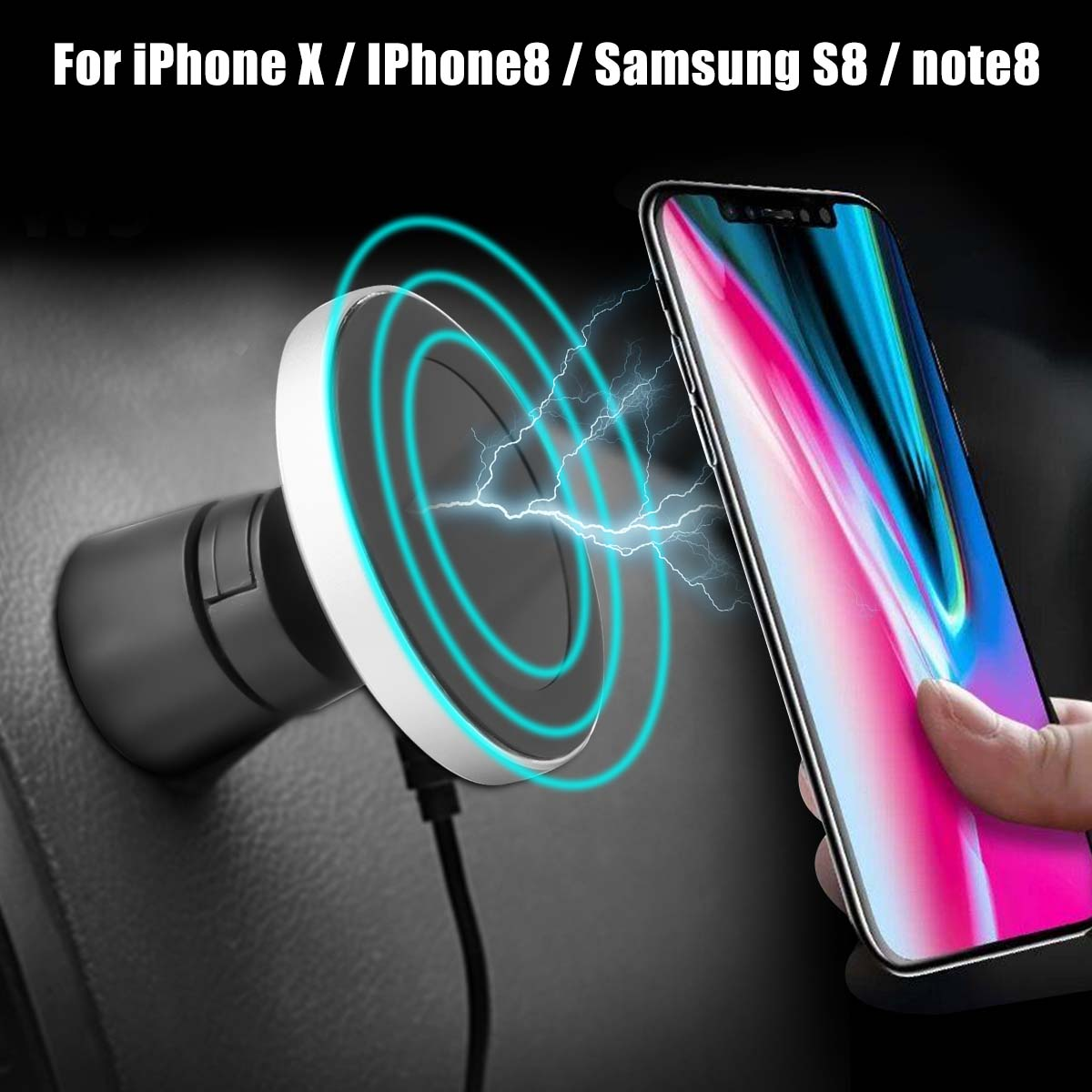 5V Wireless Car Fast Wireles Charger Magnetic Car Holder For iPhone X / IPhone8 / Samsung S8 / note8