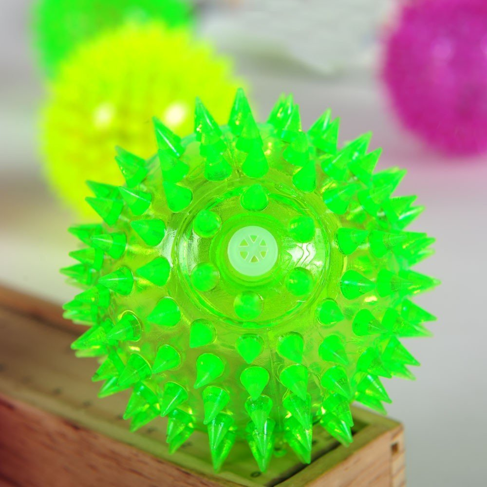 Squeaky Pet Toy Rubber LED Light Up Spike Ball Pet Dog Cat Toy