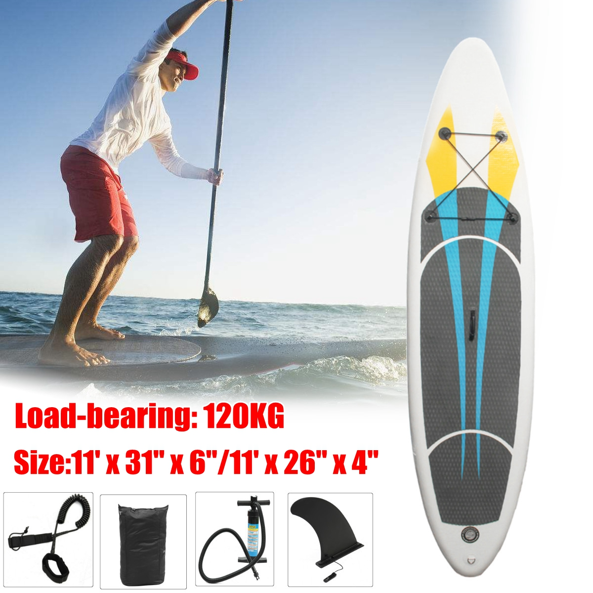 330x76x15CM 10FT SUP Inflatable Surfing Board Kits Soft Surfboard Stand Up Paddle Board with 3 Fin