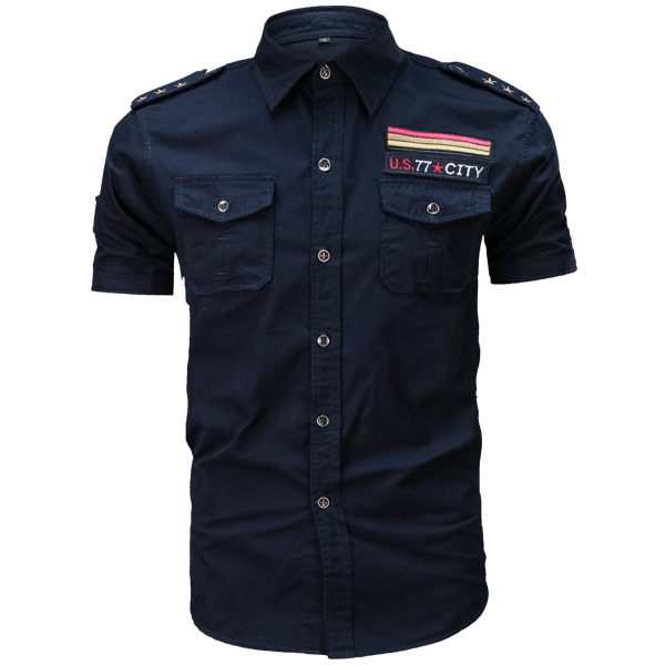 Mens Outdoor Summer Washed Cotton Casual Military Shirts