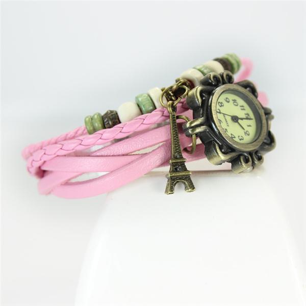 Female Fashion Retro Iron Tower Hand-made Analog Wrist Watch