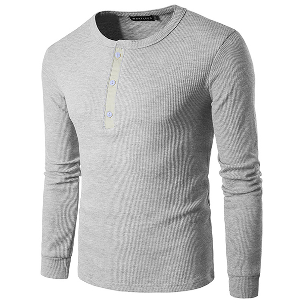 Spring Summer Mens Fashion Button Slim T-shirts Soft Casual Multicolor Long Sleeved T-shirt