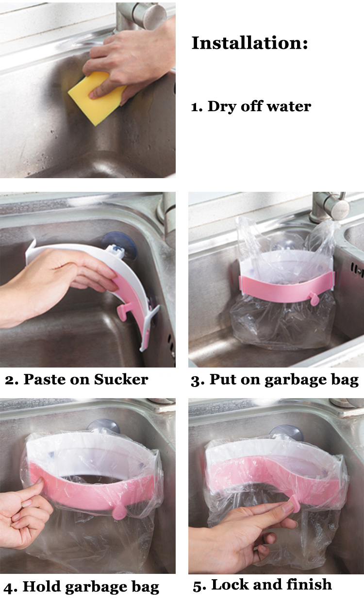 Creative Strong Sucker Garbage Bag Holder Kitchen Sink Clip-on Trash Storage Rack