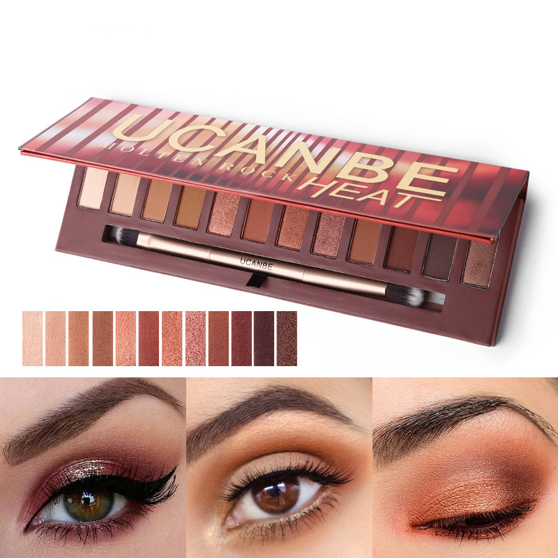 12 Colors Warm Brown Eye Shadow Palette Matte Shimmer