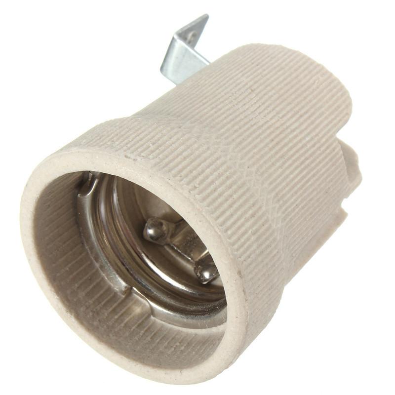E27 Ceramic Lamp Holder Socket Fittings Screw Bulb Adapter Straight Elbow Shape
