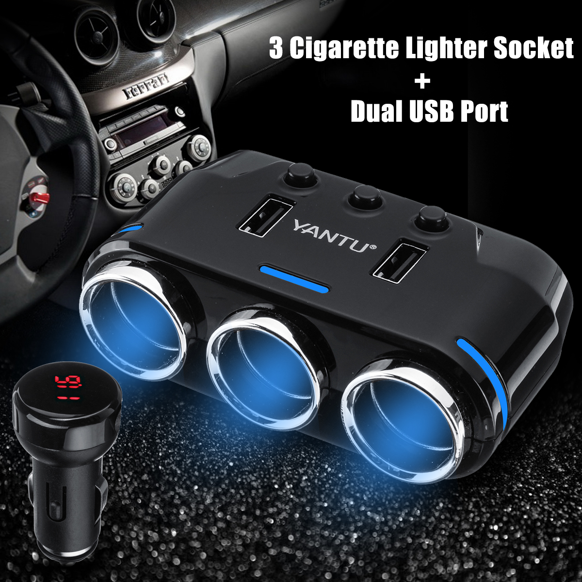 Dual USB Port 3Way Auto Car Charger Cigarette Lighter Socket DC 12V Plug Adapter