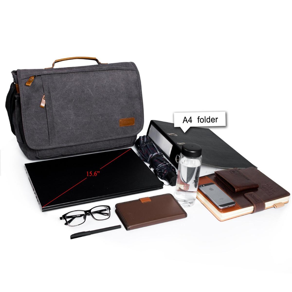 Gracosy Men Women Vintage Canvas Laptop Bag Shoulder Bag 15.6 Inch