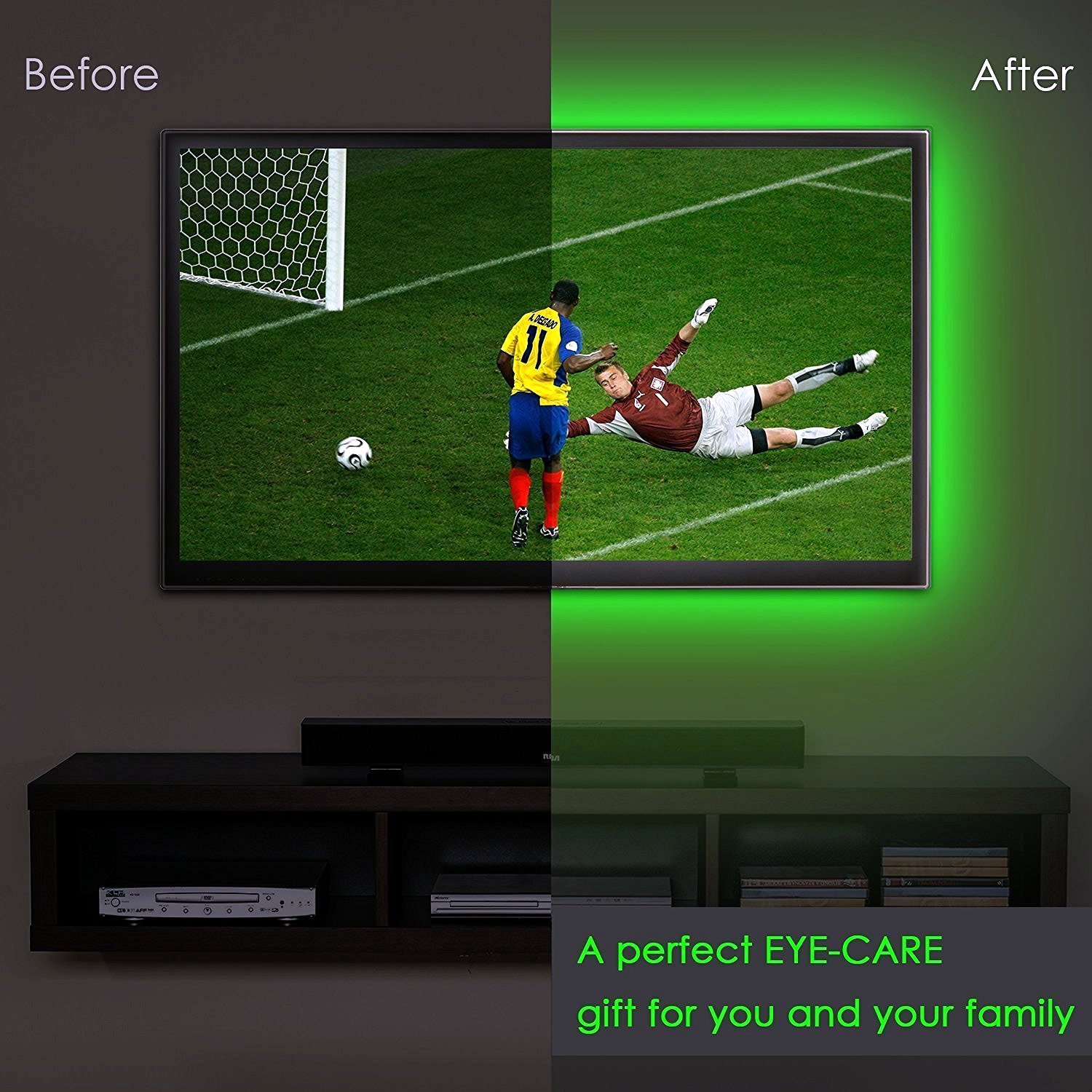 Battery Powered USB 1M SMD5050 60 LED RGB Waterproof Flexible Strip Light TV Backlight Lamp