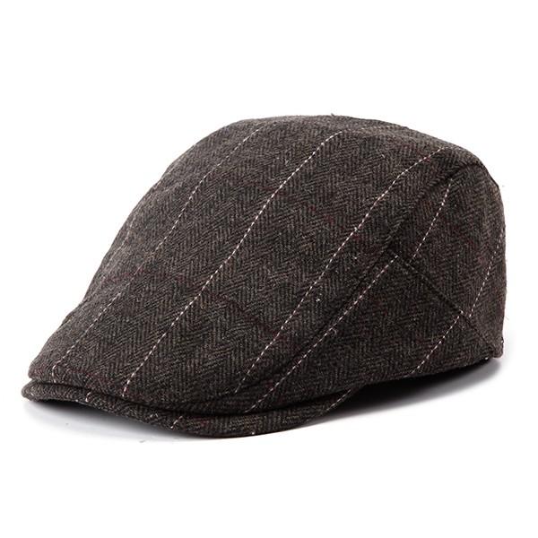 Mens Grid Blank Newsboy Peaked Cap Adjustable Warm Hat