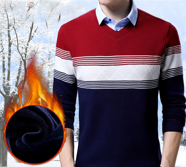 Men Winter Fleece Warm Fake Two Pieces Fashion Shirt Collar Thick Tops