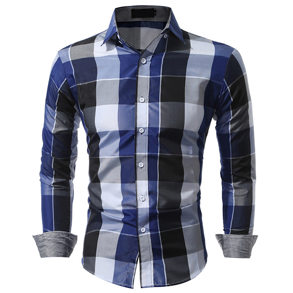 Checked Button Down Long Sleeves Slim Fit Dress Shirt for Men