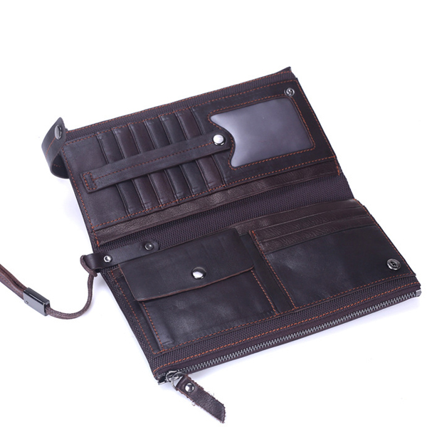 Genuine Leather Double Zippers Wallet 8 Card Slots Business Card Holder Phone Bag