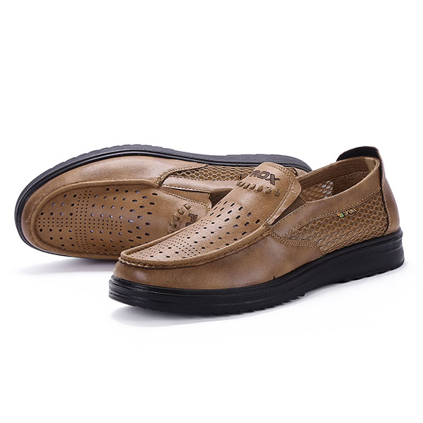 Comfy Men Leather Breathable Hollow Outs Slip On Oxfords