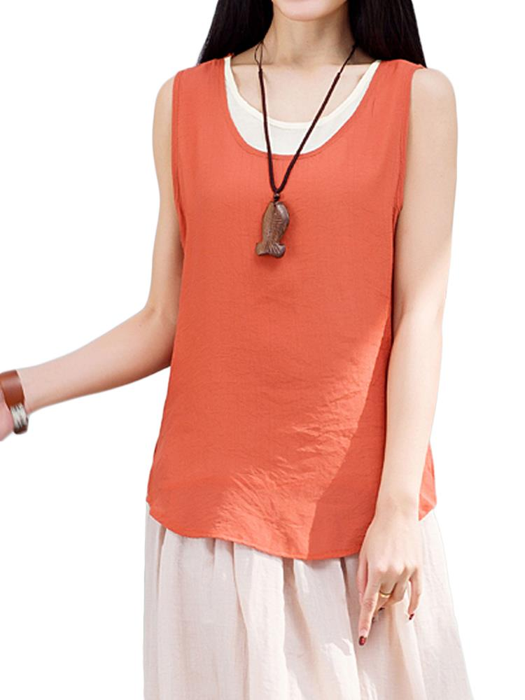 Casual Women Fake Two-piece Sleeveless Cotton Linen Tank Top
