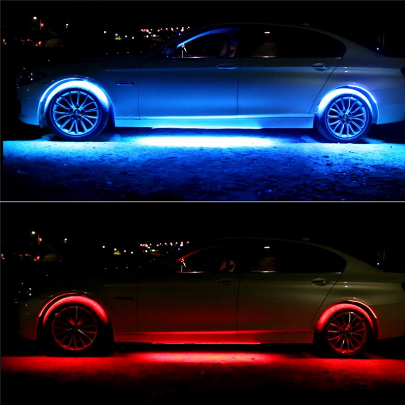 4PCS RGB Under Car LED Decoration Lights Strip Sound Music Activated Underglow with Wireless Control
