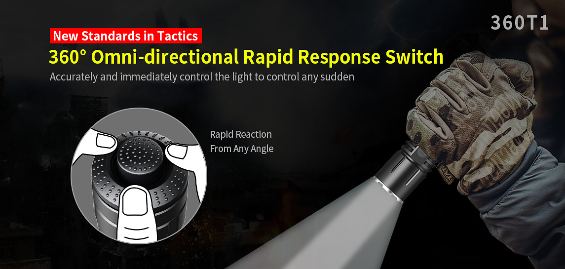 Klarus 360T1 Omni-Directional Rapid Response Tactical Tail Switch Flashlight Accessories