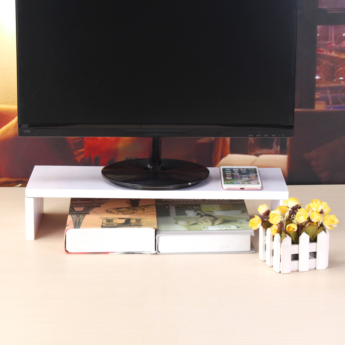 Black White Wooden Monitor Stand Computer Monitor Riser Wood Shelf Plinth