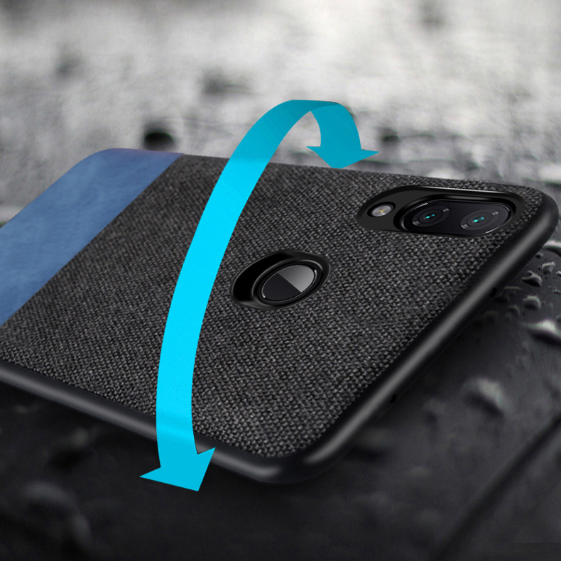 bakeey luxury fabric splice soft silicone edge shockproof protective case for xiaomi redmi note 7