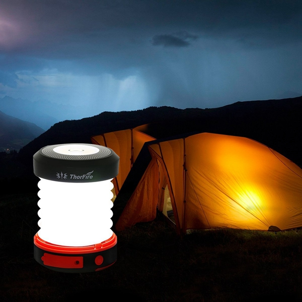 ThorFire Solar LED Camping Lantern USB Rechargeable Light for Outdoor Camping Hiking