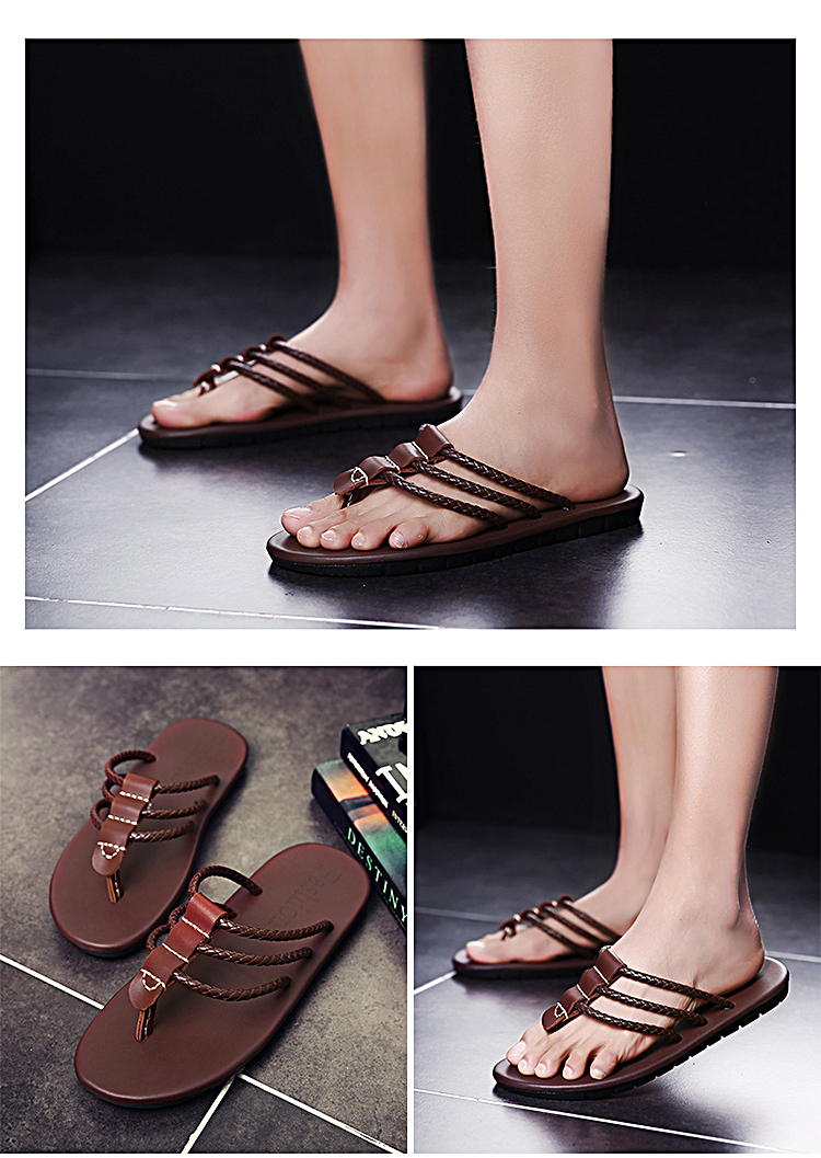 Men Genuine Leather Sandals Men The First Layer Of Leather Sandals Flip Flops Fashion Weaving Shoe