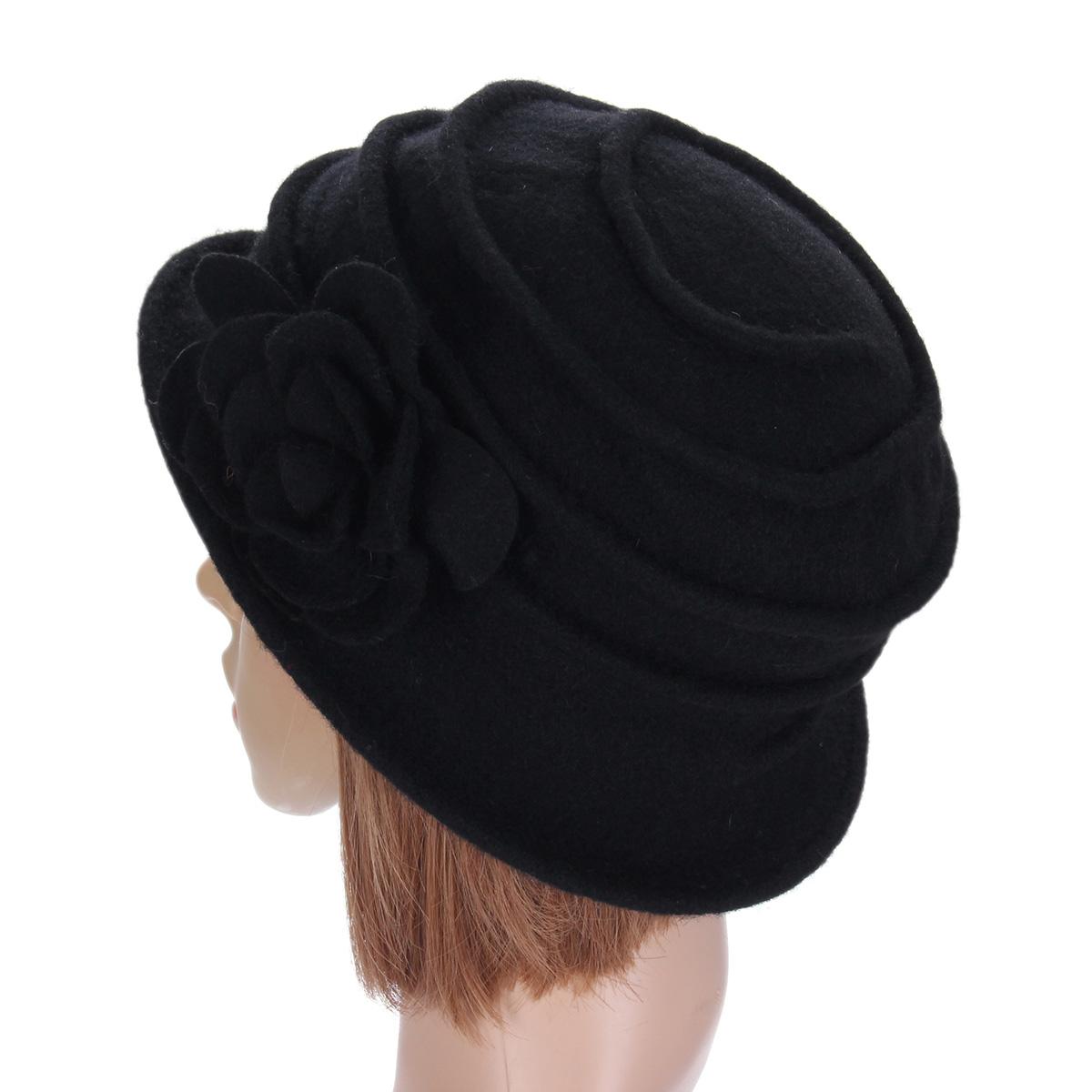 Women Ladies Flower Wool Felt Bucket Beanie Hat Cloche Cap