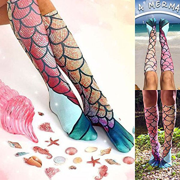 Women Ladies Stockings Mermaid Knee High Tail Fish Socks Beach Fish Scale Cosplay