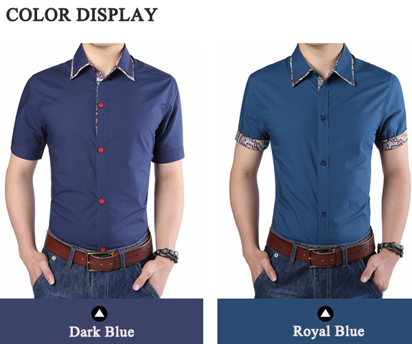 Mens Printing Stitching Summer Fashion Casual Cotton Slim Fit Short Sleeve Shirt
