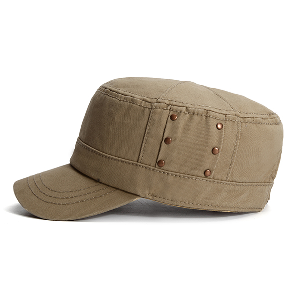 Men Breathable Cotton Flat Top Hat Summer Casual Solid Military Sunscreen Visor Cap