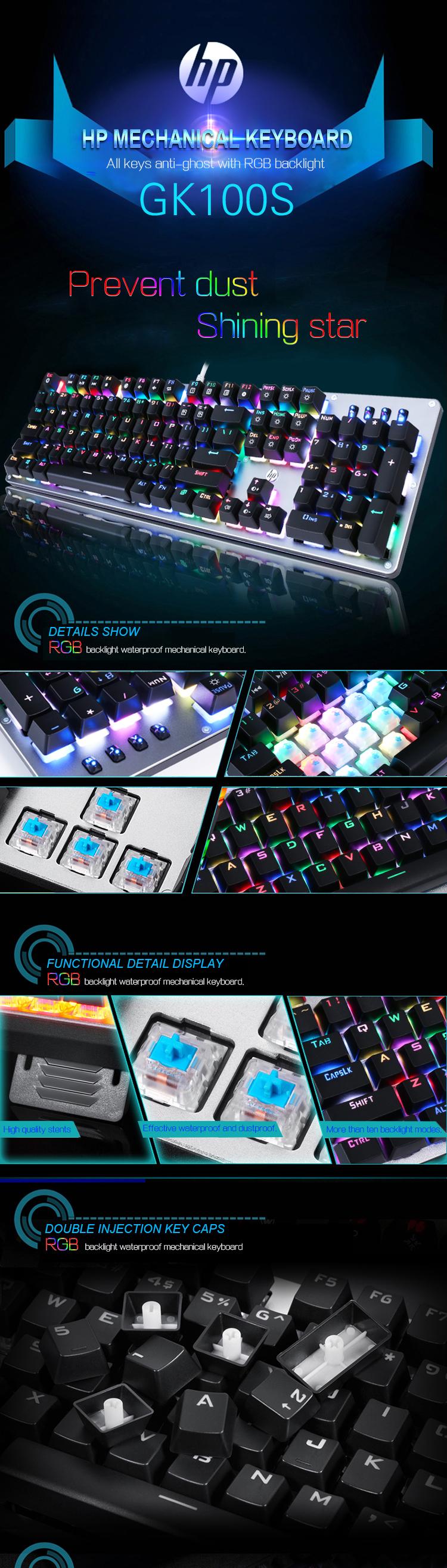 HP® GK100S 104keys NKRO RGB LED Backlight Blue Switch Mechanical Gaming Keyboard USB Wired