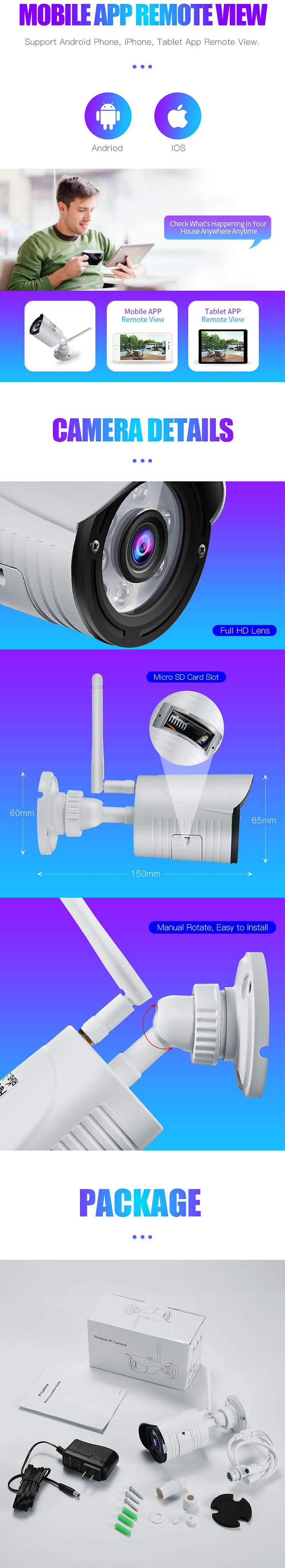 Wanscam K22 1080P WiFi IP Camera Wireless CCTV 2MP Outdoor Waterproof Onvif Security Camera Support 64G TF Card