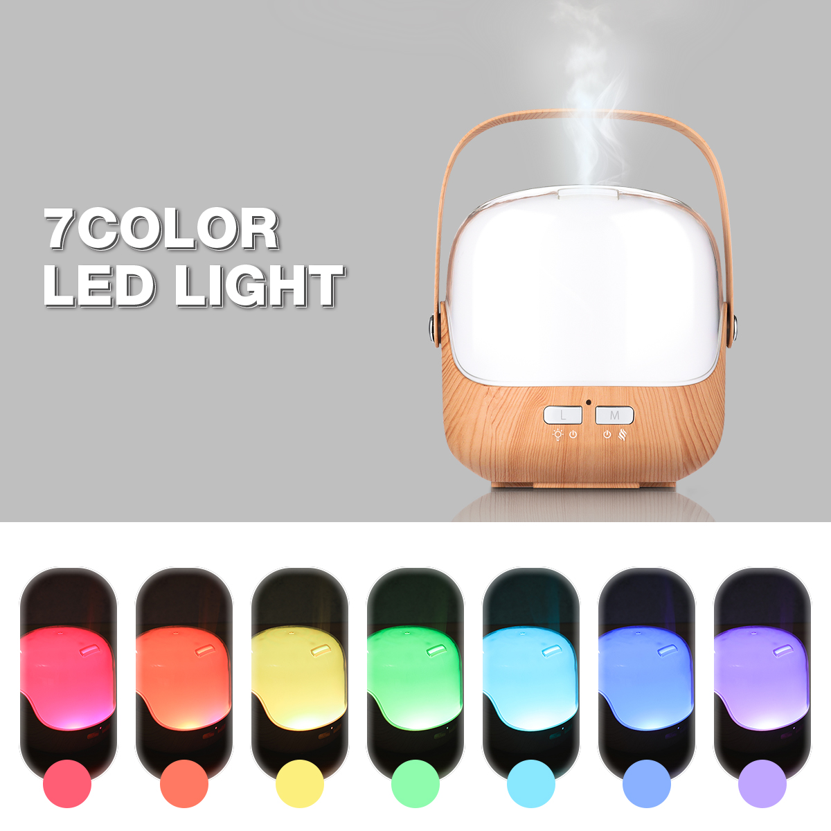 LED Aromatherapy Essential Oil Diffuser Wood Grain