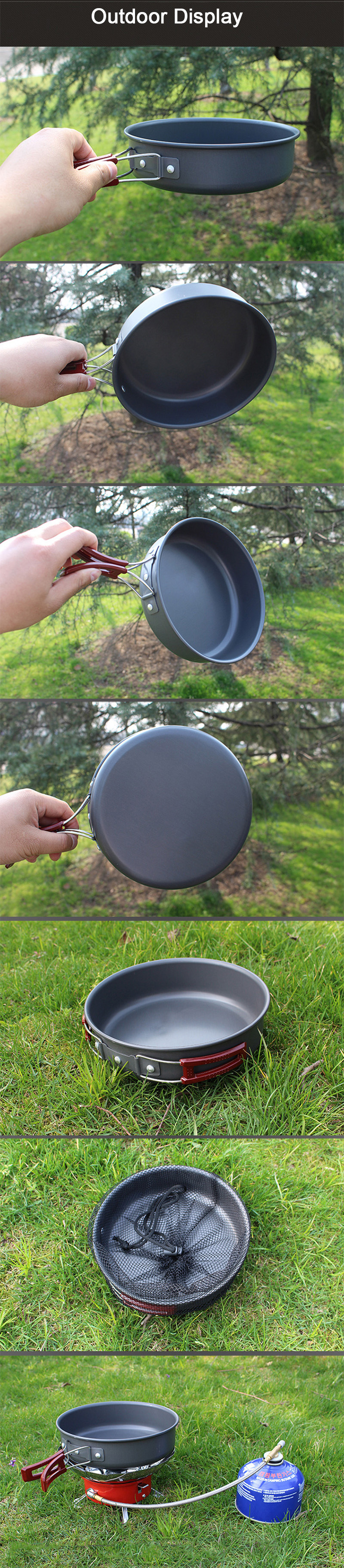 IPRee® 1.7L Outdoor Camping Non-stick Pot Portable Picnic Skillet Frying Pan Tableware Cookware