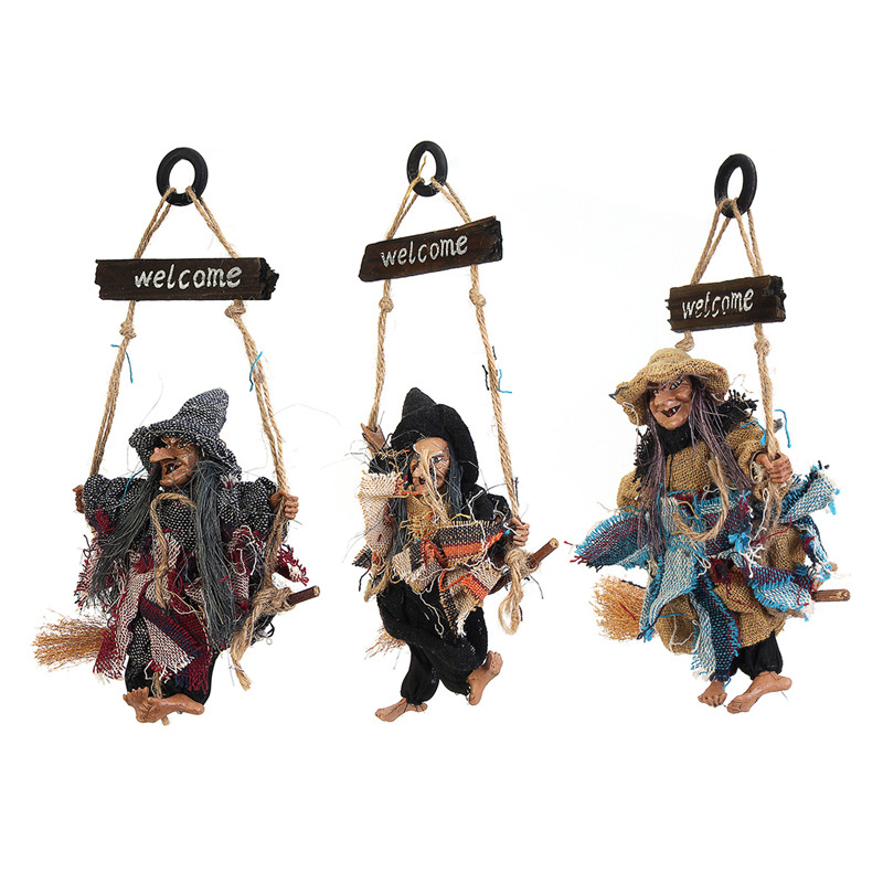 Halloween Decoration Retro Witch Sweep Flying Hanging Decor