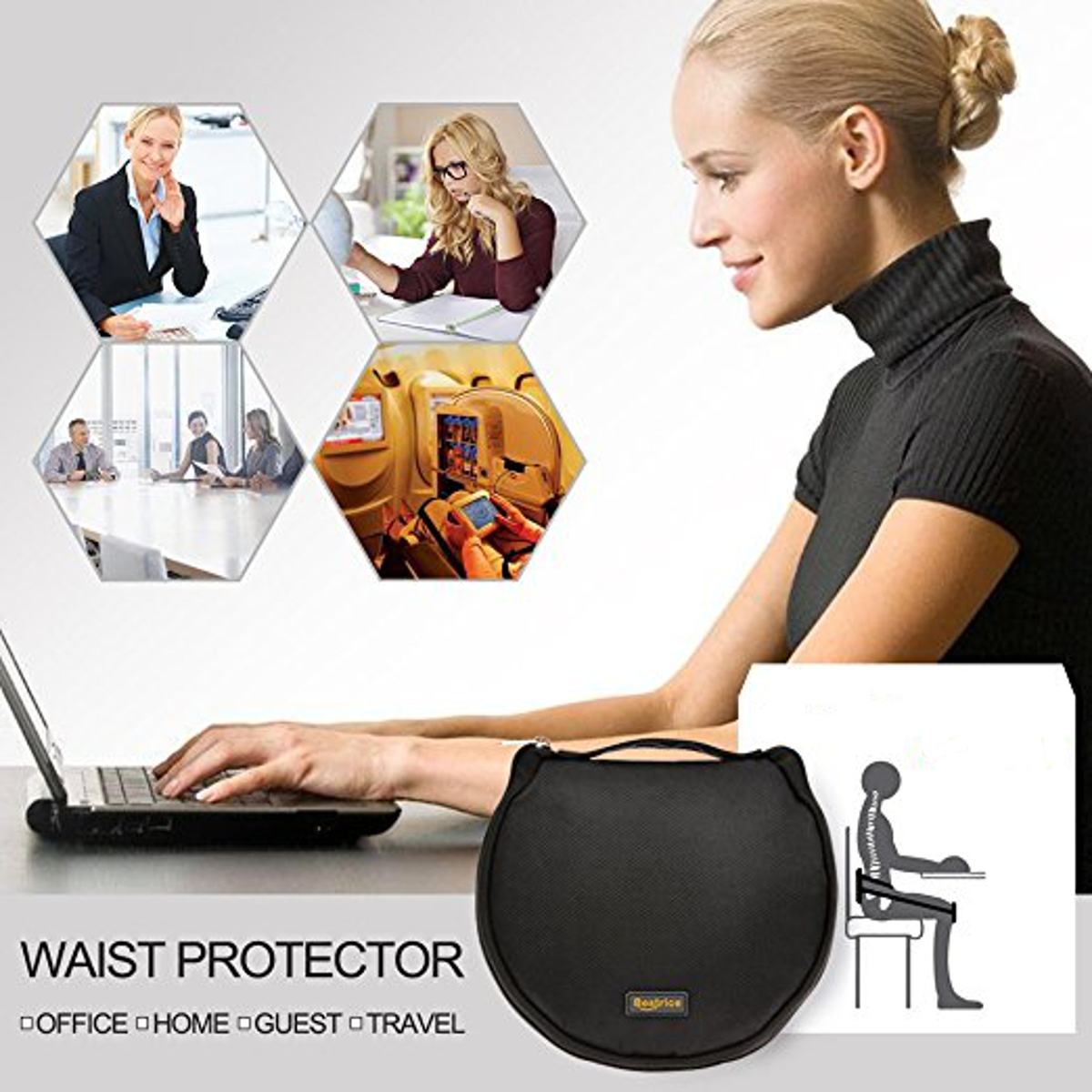 Adjustable Waist Protector Portable Back Support Belt Pad Posture Corrector Support Pad Pain Relief