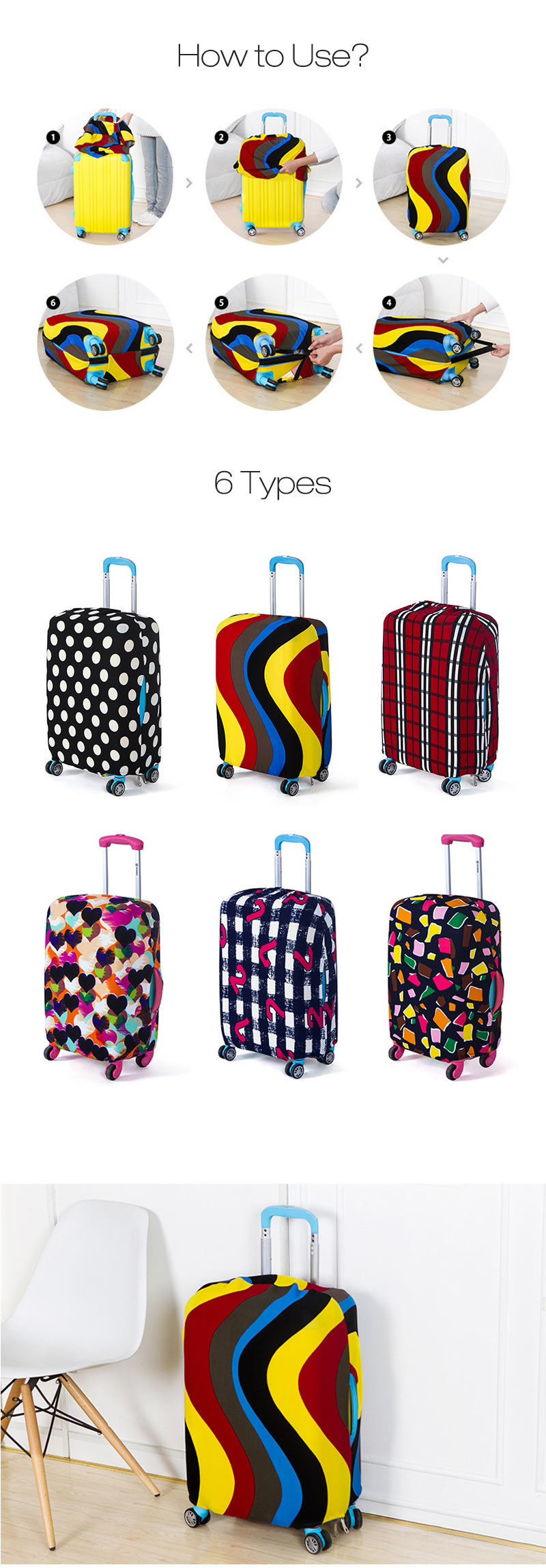 Honana HN-0802 Washable Luggage Cover Colorful Elastic Suitcase Cover Durable Suitcase Protector