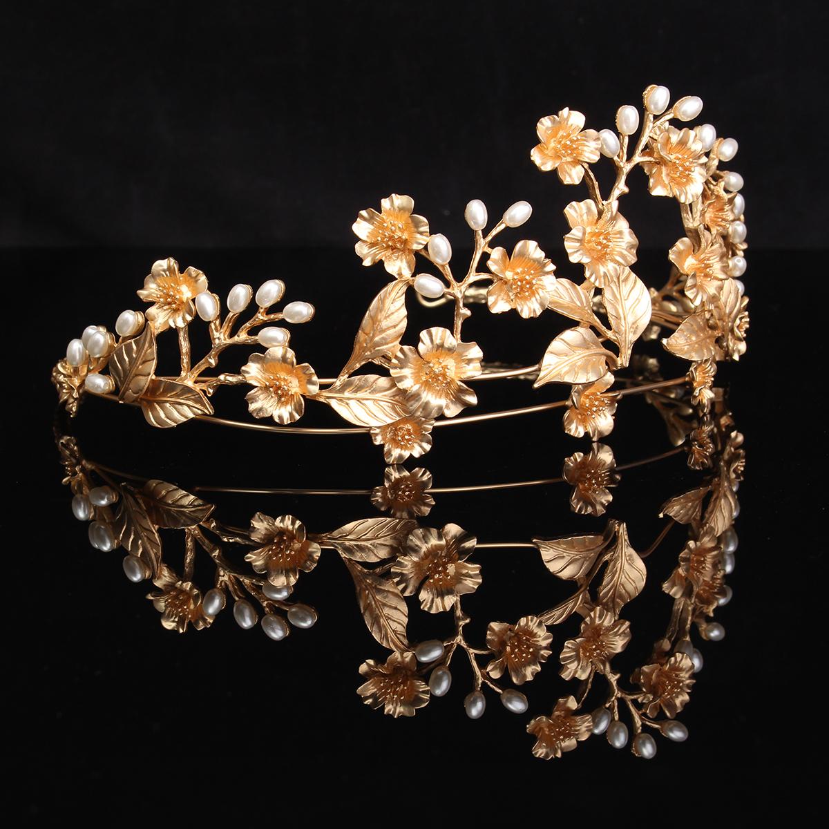 Bride Flower Leaf Bead Gold Metal Queen Crown Tiara Bridal Wedding Headpiece Headband