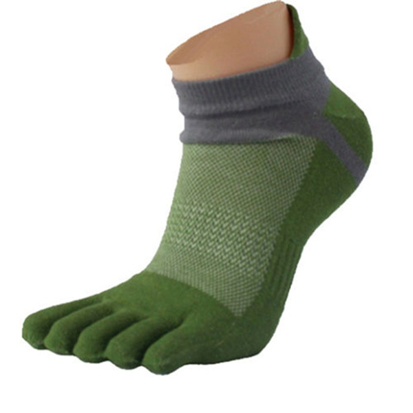 Mens Five Toes Cotton Socks Pure Breathable Sports Running Finger Socks