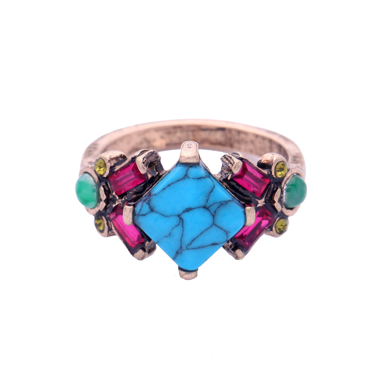 Retro Turquoise Flower Finger Ring