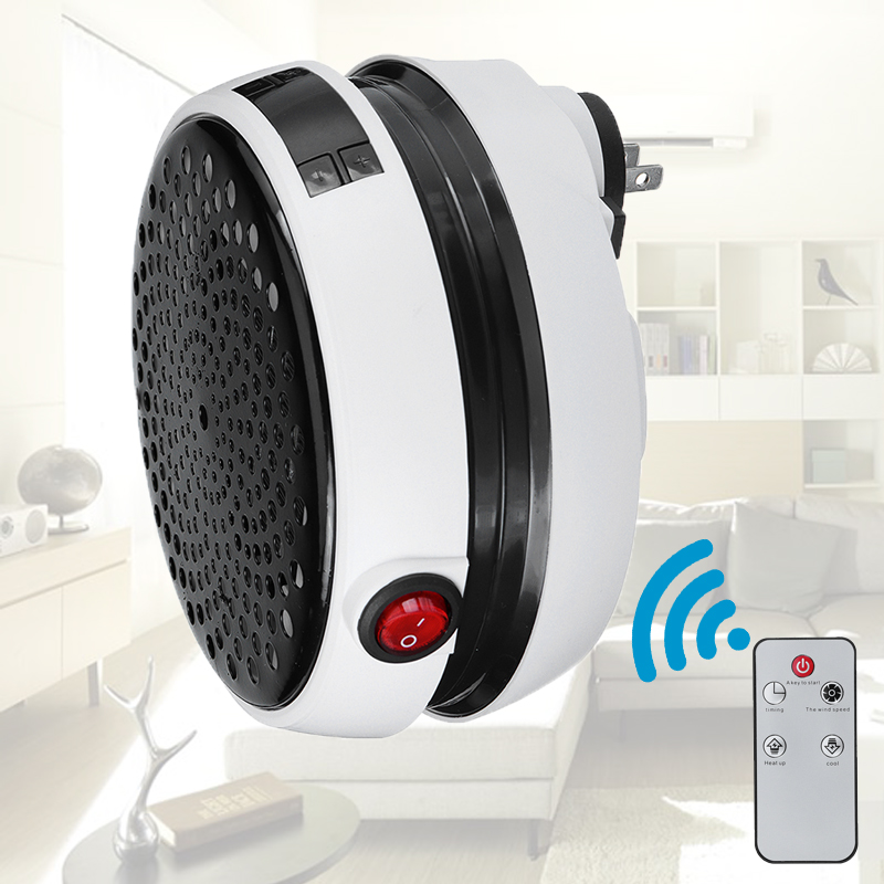 900W Handy Warm Air Blower Wall-Outlet Space Round Shape Household Digital Electric Heater