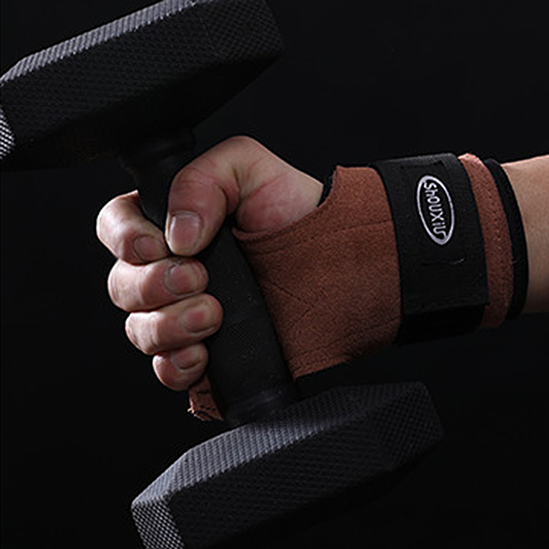 KALOAD Cowhide Brown Fitness Gloves Anti-slide Pull-up Wristband Hand Protector Hand Gripper Gym Gloves