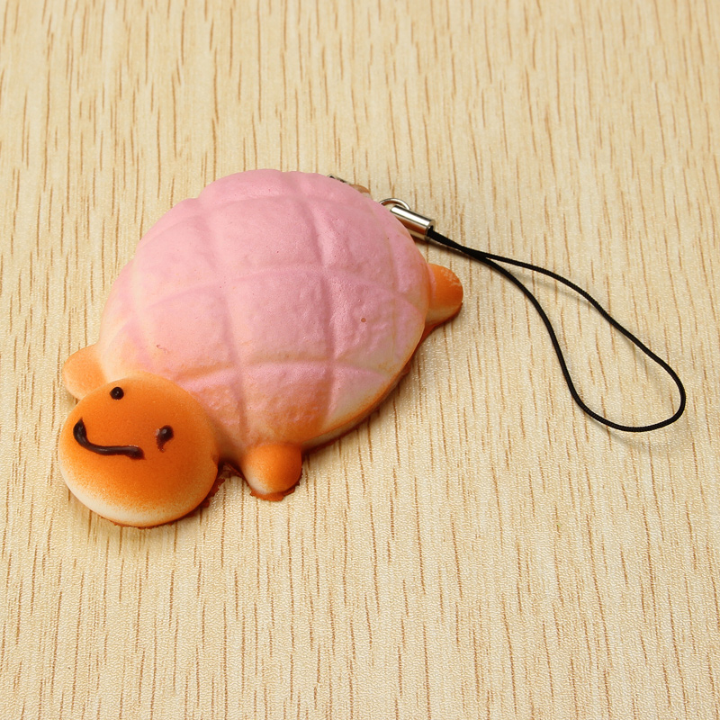 7cm Soft Kawaii Cute little Turtle Phone Bread Bun Squishy Charms With Rope Random Color