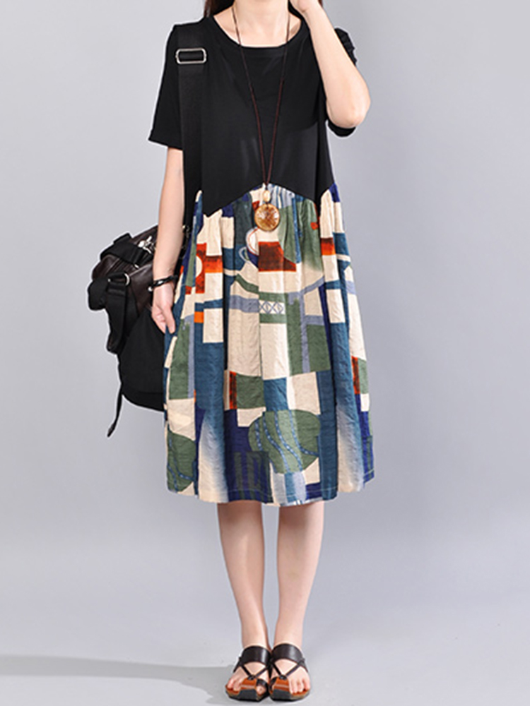 Casual Women Short Sleeve Print Patchwork Loose Women Dress
