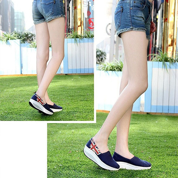 New Fashion Summer Women Canvas Rocker Sole Shoes Platform Wedge Sneakers Shoes