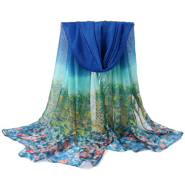 Women Printing Chiffon Scarves Shawls Casual Outdoor Soft Scarf